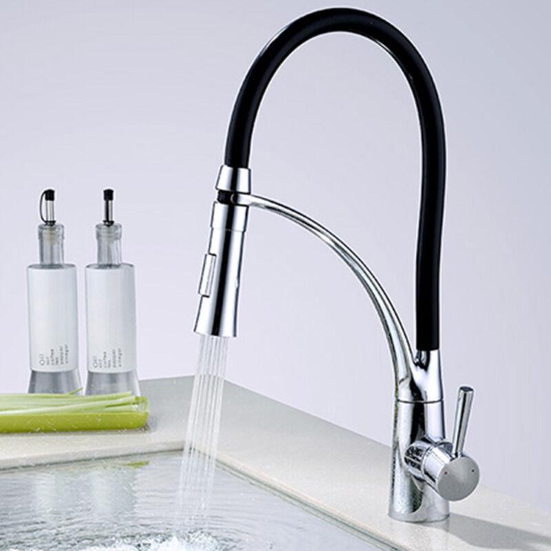 360° Rotation Swivel Kitchen Sink Mixer Taps Black Chrome ...