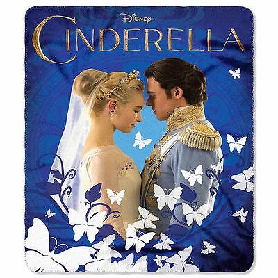New Disney's Cinderella Royal Couple Fleece Throw Blanket Polyester 46