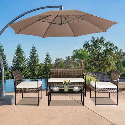 Garden Furniture - 4 PCS Outdoor Patio Rattan Furniture Set Cushioned Sofa Coffee Table Garden Deck