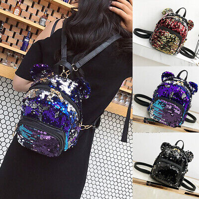 Small Sequins Backpack Girls Women School Mini Bag Travel Rucksack Shoulder -