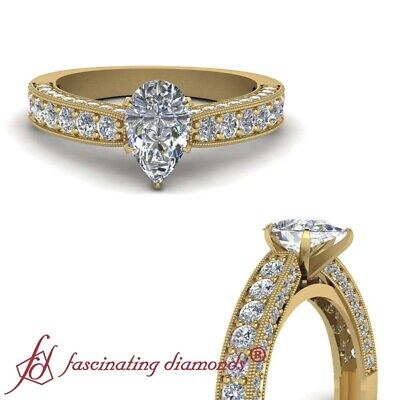 Pear Shaped Diamond Milgrain Engagement Ring Pave Set In Yellow Gold GIA 1.65 Ct
