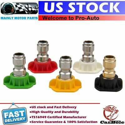 5 Pack Pressure Washer Spray Nozzle Tips Set 14 Variety Degrees Quick Connect