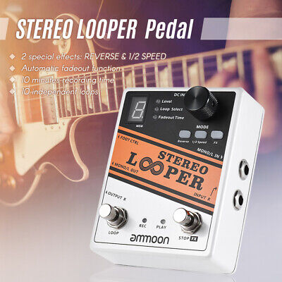 ammoon STEREO LOOPER Loop Record Guitar Effect Pedal 10 Independent Loops F9M7