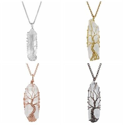 Natural Tree of Life Wire Wrap Crystal Quartz Handmade Pendant Necklace Healing