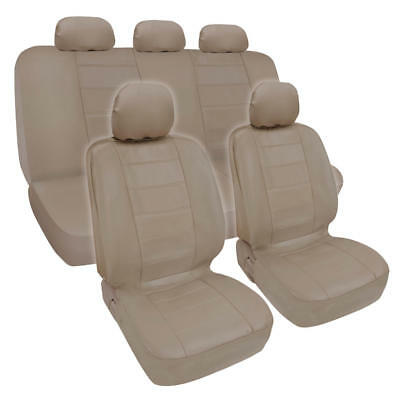 Synthetic Leather Beige Car Seat Covers Genuine Leather Feel Front Rear Full Set 95 Ford Taurus Sho