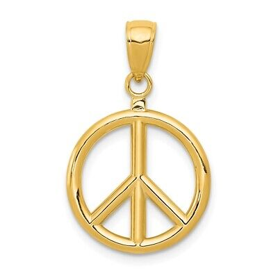 14K Yellow Gold Polished Peace Sign Symbol Pendant