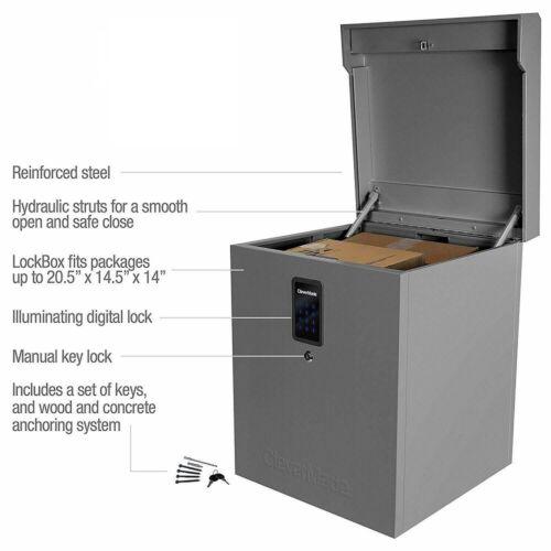 CleverMade Parcel LockBox S100 Series Secure Package Delivery Box Digital Lock