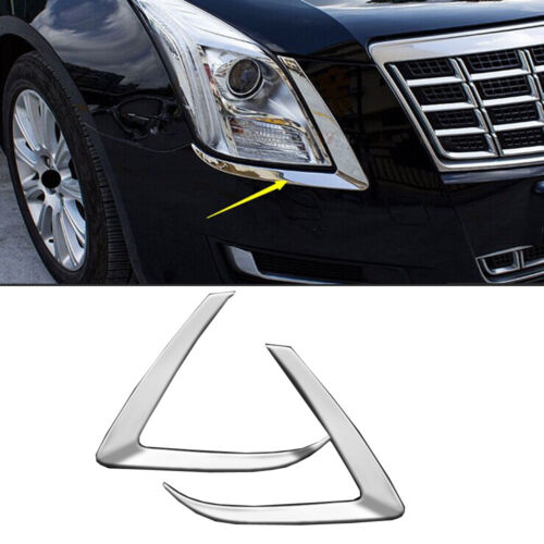 Pair Stainless front Eyebrow lights frame cover trim For Cadillac XTS 2015-2017