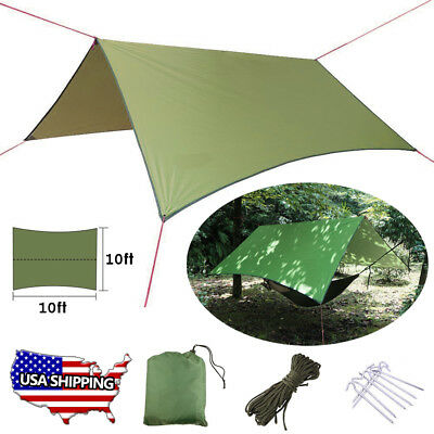 edcde9a6f98 Waterproof Camping Tent Tarp Shelter Hammock Cover Lightweight Rain Fly  10x10 ft