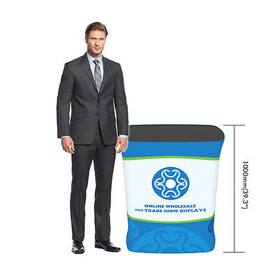 Rectangle Fabric Booth Tension Podium Counter With Graphic For Trade Show