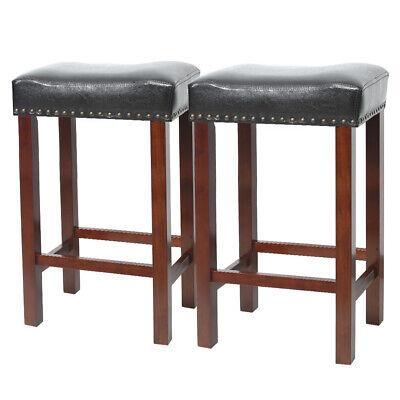 "Set of 2 Bar Stool Wood Legs PU Cushion Seat Black Dining Pub Bar 30"" Height"