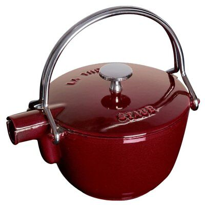 Staub 1650087 1 Quart Cast Iron Round Teapot Tea Kettle, Grenadine