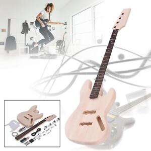 New 4 String JAZZ Bass Style Solid Basswood Body Electric Bass DIY Kit US Stock