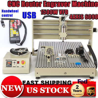 Usb Cnc Router 6090 Engraver Machine 4 Axis Metal Woodworking 3d Mill 1.5kw Rc
