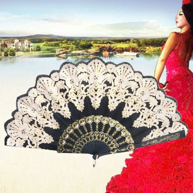 Party Decoration Spanish Style Black Lace Flower Hand Fan Folding Golden Silk