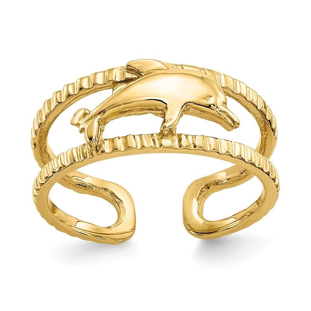 14k Yellow Gold Solid Dolphin Adjustable Toe Ring With Ribbed Band  1.55 gr