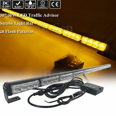 36w 38 Led Amber Yellow Light Bar Traffic Advisor Warn Emergency Strobe Vehicle
