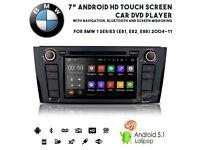 "7"" Android HD GPS SatNav Car DVD Player USB SD Aux Stereo For BMW 1 Series E81 E82 E88 2004-11"