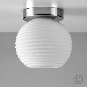 Contemporary Brushed Chrome Flush Ceiling Light Ribbed Opal Glass Globe Shade