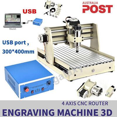 Usb 4 Axis Cnc 3040 Router Engraver Drill Mill Diy 3d Cutter Mach3 400w Desktop