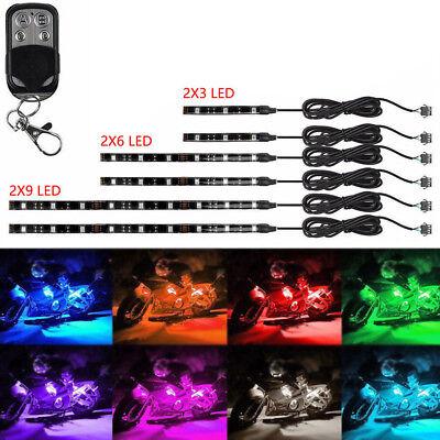 6pc 18Color LED Car Motorcycle Chopper Frame Glow Light Flexible Neon Strips Kit