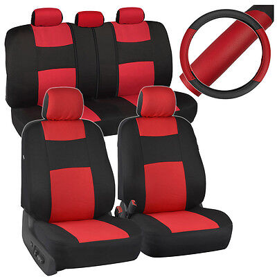 Red Car Seat Cover (Black/Red Car Seat Covers for Auto w/ 2 Tone PU Leather Steering Wheel)