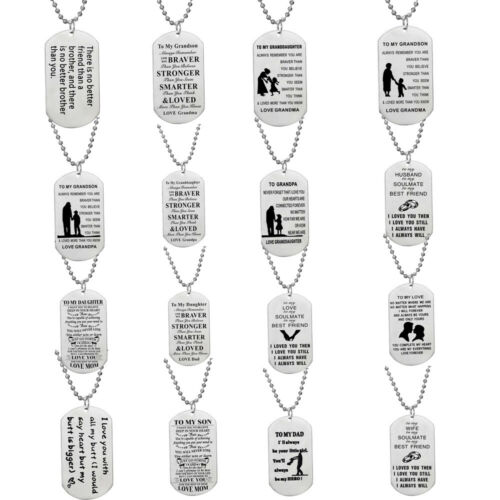 Dog Tag Necklace Gifts for Son Daughter from Mom Dad Jewelry
