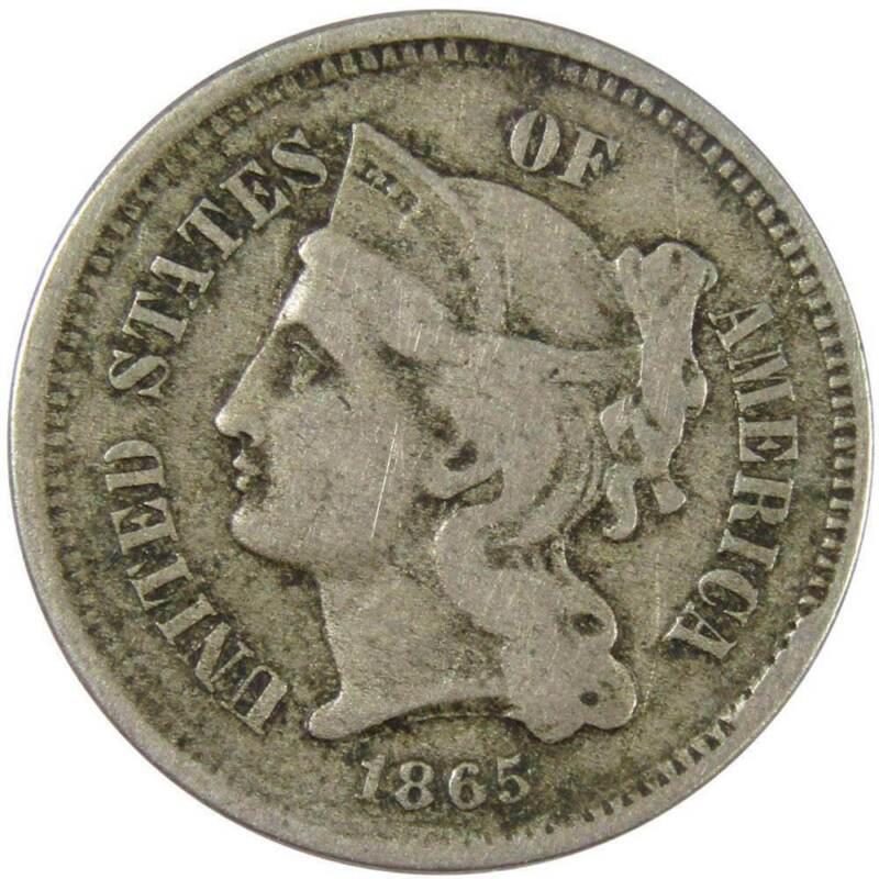 1865 3c Nickel Three Cent Piece US Coin VG Very Good