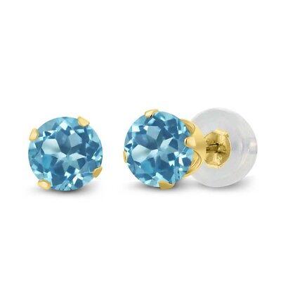 Blue Topaz 14k Gold Earrings - 1.20 Ct Round 5mm Blue Topaz 14K Yellow Gold Stud Earrings