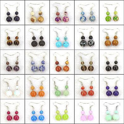 women's fashion drop dangle earrings 6mm 10mm natural gemstone stone (Stone Fashion Earrings)
