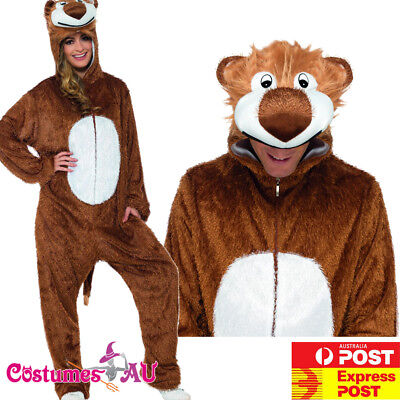 Mens Lion King Costume Adults Jumpsuit Animal Zoo Party Simba Book Week Outfit