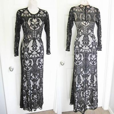 BEBE KARINA LONG SLEEVE LACE OVERLAY MAXI GOWN DRESS NWT NEW XXSMALL XXS 0