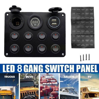 8 Gang Dual Usb Charger Socket Power Outlet Voltmeter On-off Toggle Switch Panel