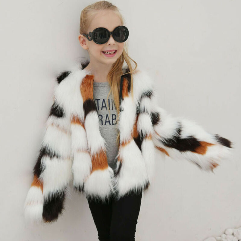 Toddler Kid Baby Girl Winter Faux Fur Coat Jacket Thick Oute