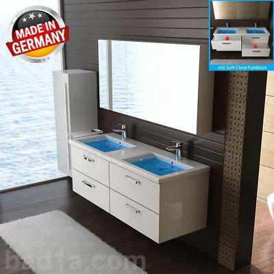 Doppelwaschbecken mit Unterschrank Waschtisch Lotuseffekt Badschank SoftClose