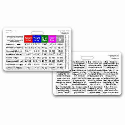 Pediatric VS & Developmental Horz Badge ID Card Pocket Reference Paramedic Nurse