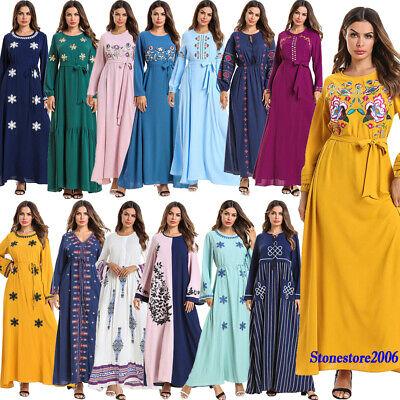 Ethnic Embroidery Abaya Islamic Kaftan Dubai Robe Muslim Women Long Maxi Dress