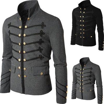 Officer Military Drummer Parade Jacket Gothic Punk Men's Black/Gray Jackets Coat