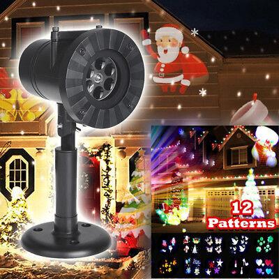 Weihnachten LED Laser Projektor Licht 12 Muster Xmas - Halloween Dekor Muster