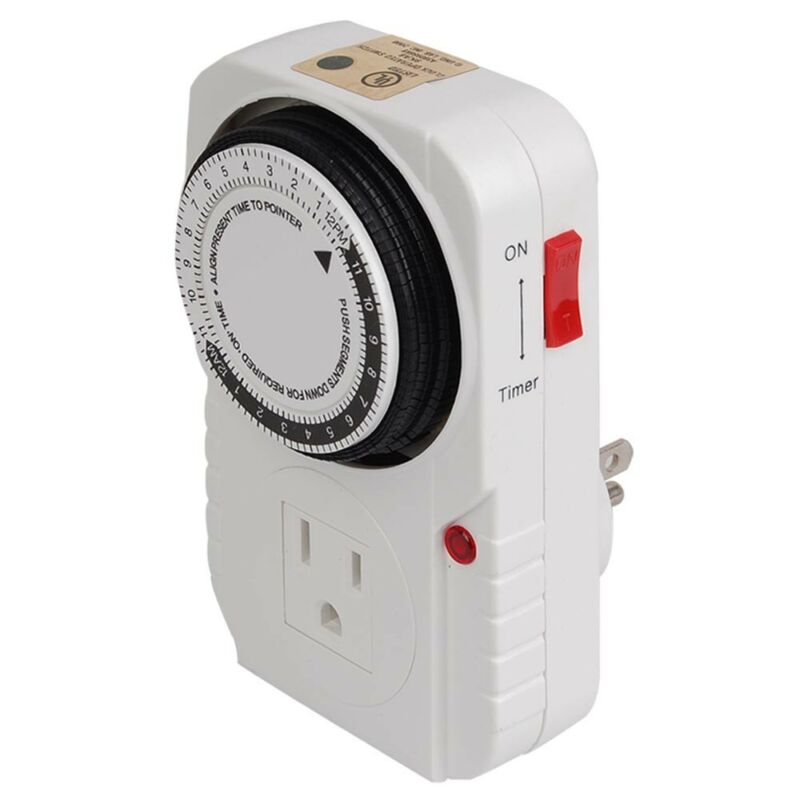 24-hour Grounded Timer 1875W 15A For Home Grow Tent Fan Blower Aquarium Light US