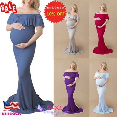 US Pregnant Women Ruffle Off Shoulder Long Maxi Gown Photography Maternity Dress