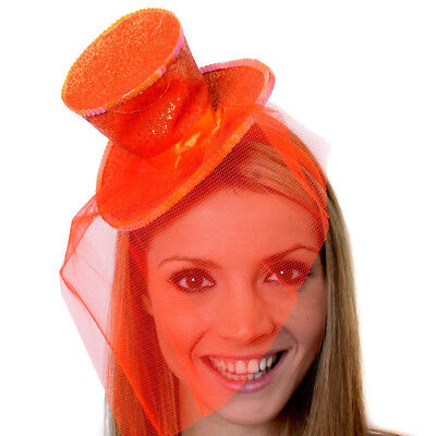 ORANGE MINI TOP HAT WITH NET GLITTER FASCINATOR FANCY DRESS ACCESSORY CHRISTMAS