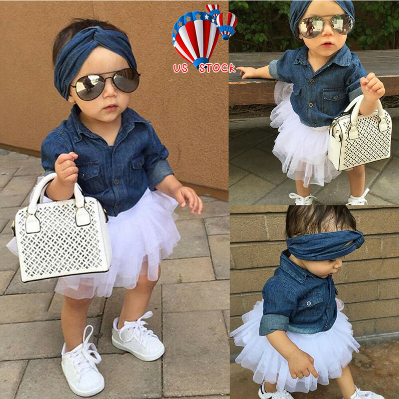 Toddler Kids Baby Girl Denim Tops Shirt+Tulle Tutu Skirt+Hairband 3PCS Dress Set