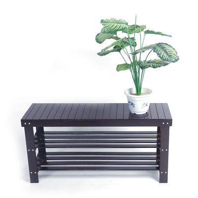 3 Shelf Storage Organizer - 3 Tier Bamboo Shoe Rack Bench Storage Seat Organizer Shelf Entryway Hallway Home
