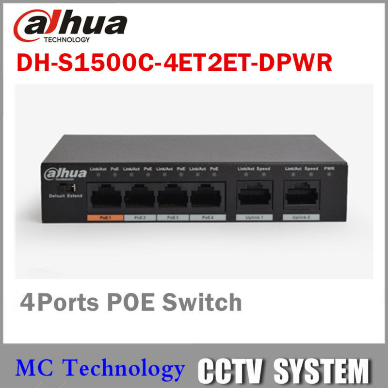Dahua PoE Switch 4CH Switch Support 802.3af 802.3at POE POE+ Hi-PoE