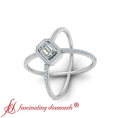 Halo Split Shank Engagement Ring With Emerald Cut Diamond In Center 0.85 Carat 2