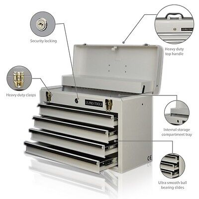 179 US Pro Tools Single Steel Storage Tool Box Chest  Cabinet 4 DRAWER WHITE