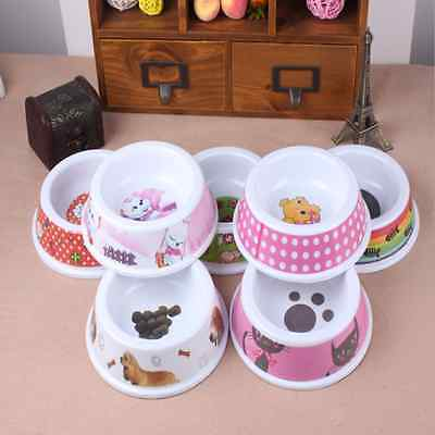 Cute Puppy Cat Pet Dog Go Eating Feed Bowl Food Water Dish Plastic Single