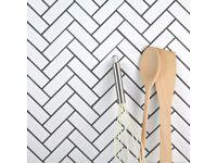 White Matt Herringbone Mosaic Tiles with Grout