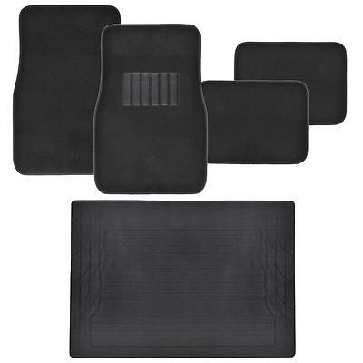 Car Floor Mats 5pc set Carpet Floor Protection w Cargo Trunk Mat - Black Car Floor Mat Set Rug